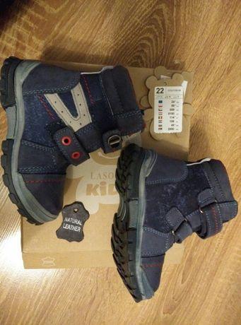 Buty zimowe lasocki, skórzane,rozmiar 22, nieużywane,NOWE