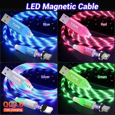 Магнитный светящийся кабель TOPK LED с поддержкой быстрой зарядки 1m