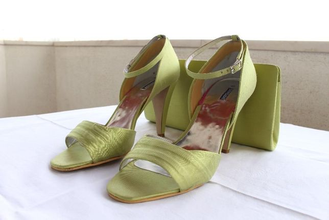 Sapatos 40 e mala cerimónia verdes-claro