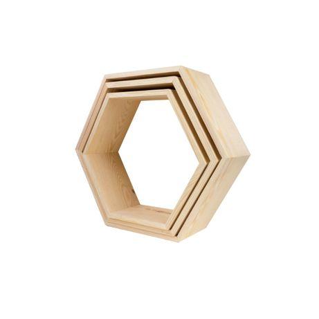 Zestaw trzech półek heksagon (otwarte) - 3 w 1