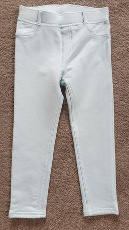 Jasnoseledynowe spodnie/legginsy dziewczęce H&M r.104 jak NOWE!