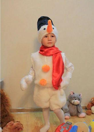 Детский Новогодний Карнавальный костюм Снеговик мех и атласный
