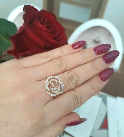 Złoty pierścionek brylantowa róża, 585, diamenty 0,25 ct