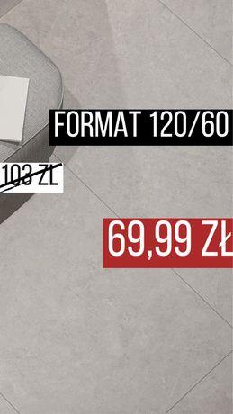 LIghtstone Grey Plytki Gres 120/60 Beton Kamien MATT Ceramika Paradyz