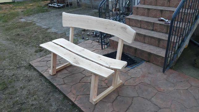 Ławka drewniana z oparciem