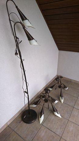 żyrandole+lampa stojąca podłogowa komplet