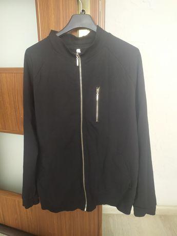 Bluza rozpinana napisy czarna zamek kieszonka