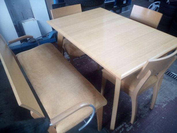 Komplet stół + krzesła + ławka jadalnia kuchnia salon buk okazja bdb!