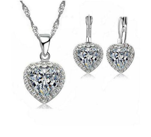 Romantyczny Srebrny Komplet Biżuterii 925 HEARTS