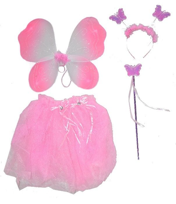 Strój karnawałowy Sukienka Różowa WRÓŻKI MOTYLKA KRÓLEWNA ELFA