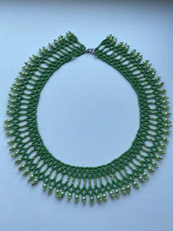 Продаю красивое зеленое колье воротник ручной работы