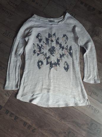 Bluza ecry długi rękaw beż wzory S Yessica
