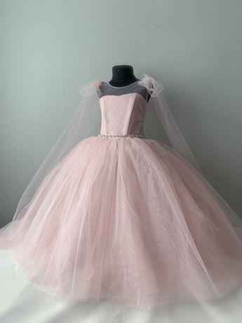 Нарядное платье на выпускной пудра 116-122