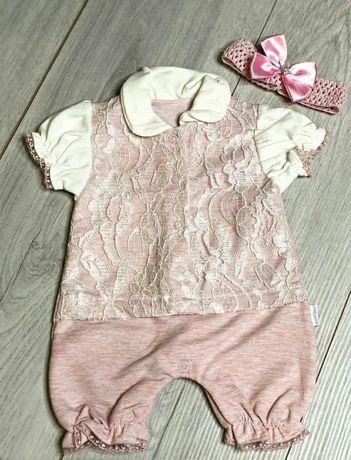 Набор нарядный комплект для новорожденного девочки крещения боди песоч