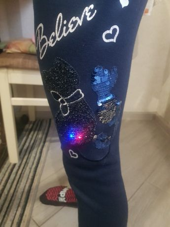 Светящиеся зимние и деми штаны лосины легинсы на меху 116-122-128 см