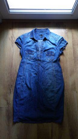 Sukienka bawelniana jeansowa h&m mama rozmiar s