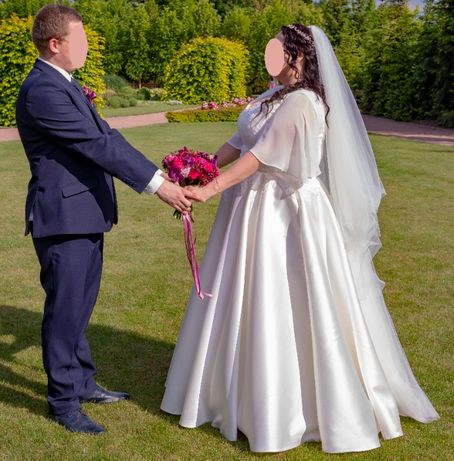 Suknia ślubna princeska mikado muślin ecru duży rozmiar z regulacją