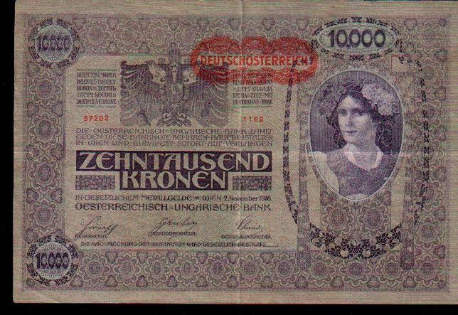 Áustria Ocupada p/Alemanha 2 notas 10000 Kronenc/recarga DEUTSHÖSTERRE