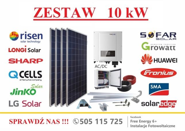 Fotowoltaika zestaw 10kW Sofar Solar, Longi