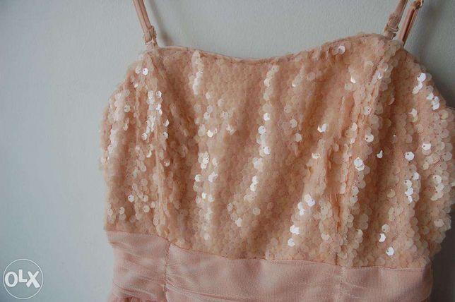 sukienka pudrowy roz, tiulowa studniówka na studniówkę wesele reserved