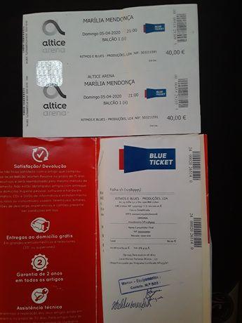 2 bilhetes concerto da Marília Mendonça