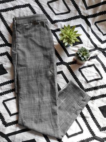 Szare spodnie w kratkę h&m 34