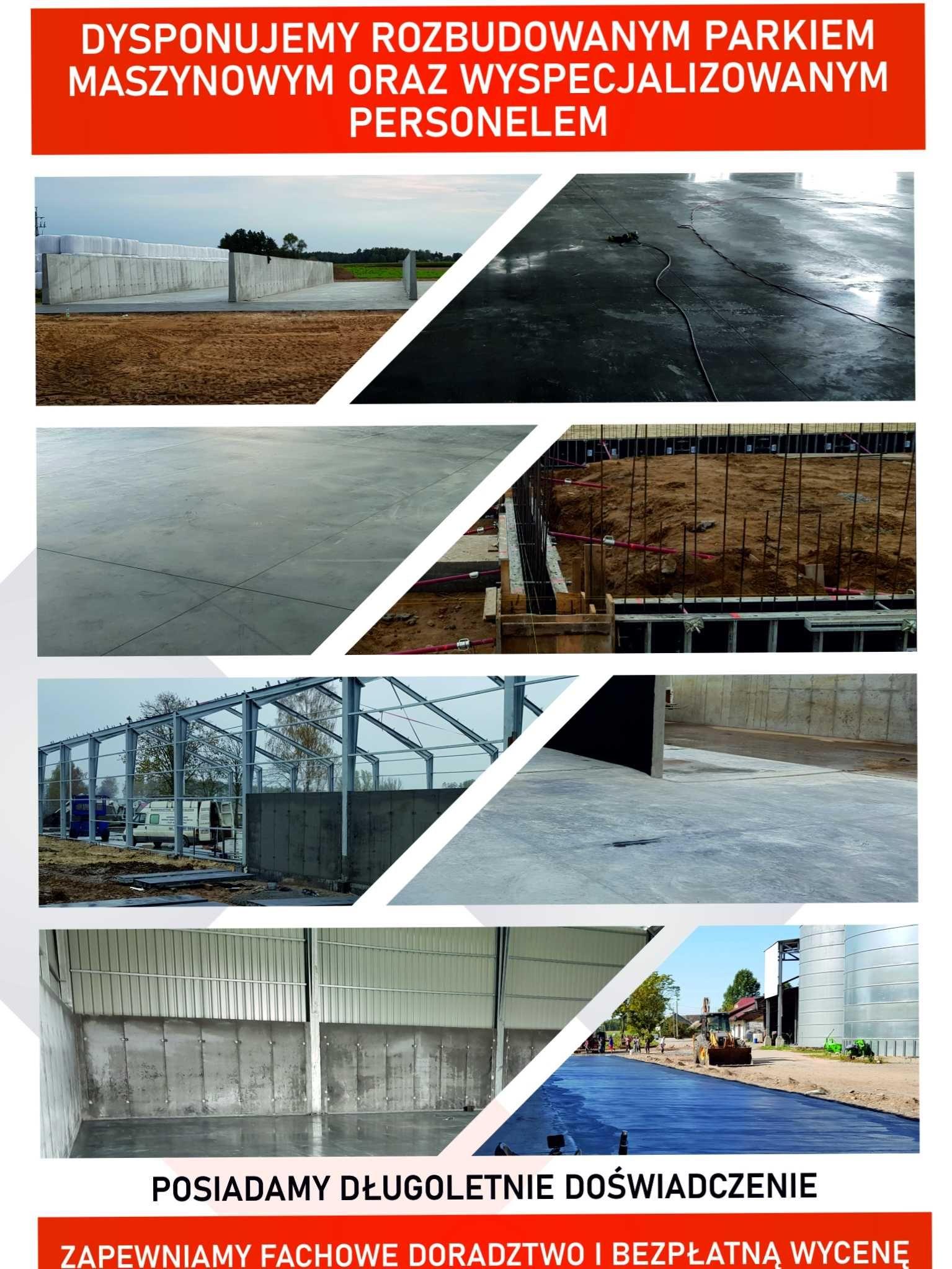 Utwardzanie terenu betonem, budowa silosów i budynków inwentarskich