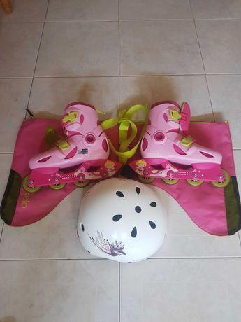Patins em linha e saco com capacete marca Oxelo p/criança