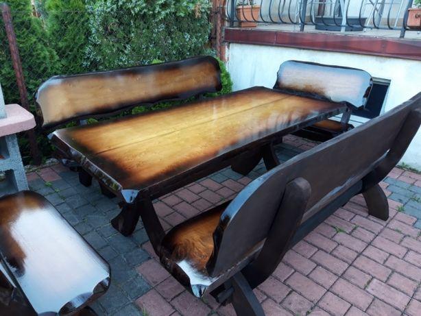 Meble ogrodowe stół ławki krzesła dla 10 - 12 osób altana parasol