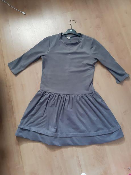 Zamszowa sukienka szara suknia falbanka falbana r. M rękaw