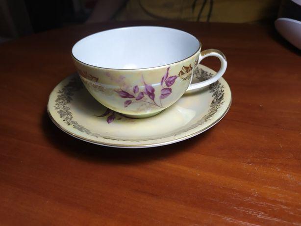 Фарфоровая двойка (чашка с блюдцем) ГДР