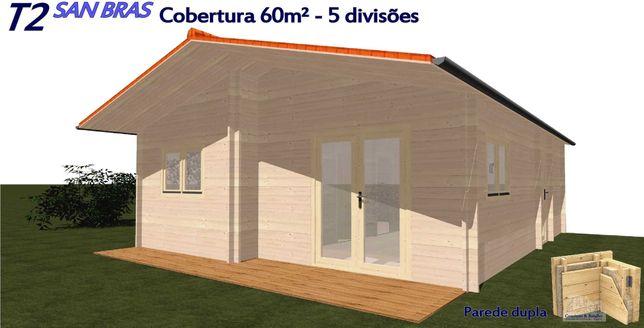 """Casa """"SAN BRAS"""" T2 60 m² - 5 divisões - Mobilehome - Casa de madeira"""