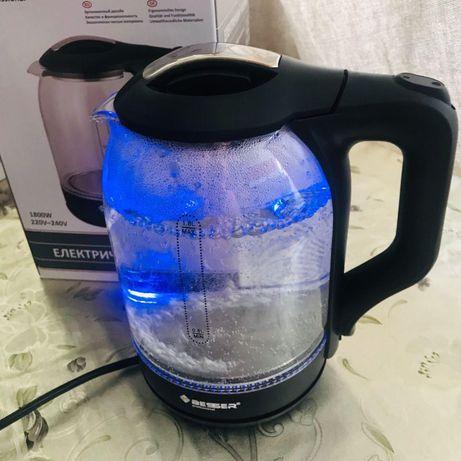 Электрический чайник 1.8л стеклянный с подсветкой. Электрочайник новый
