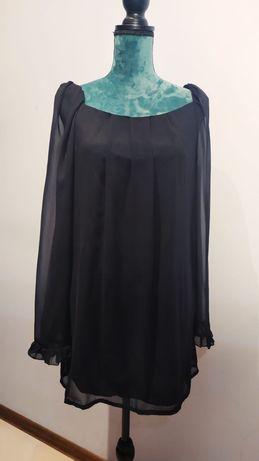 Czarna sukienka 40 / L , zwiewna tunika, falbanki