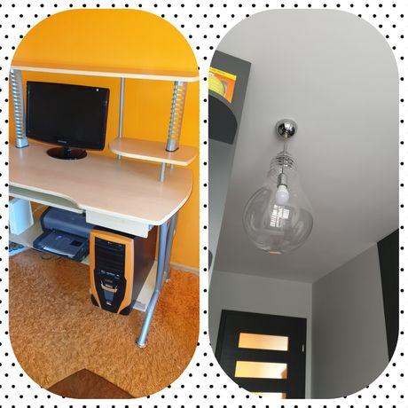 Biurko z nadstawką (bez sprzętu) lub lampa wisząca