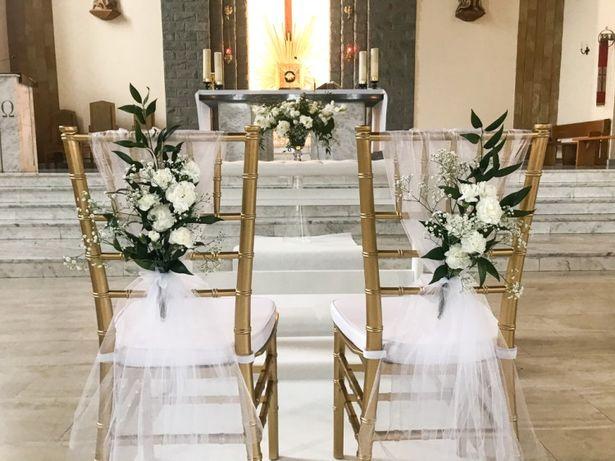 Złote krzesło krzesła chiavari tiffany ślub wesele