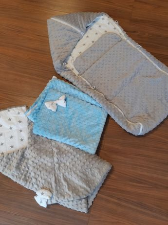 Zestaw komplet niemowlęcy minki szaro niebieski rożek śpiworek kocyk