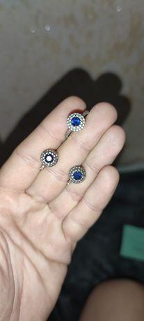 Набор серьги +кольцо Тифани