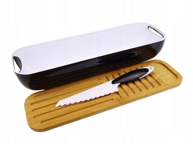 Chlebak połysk deska bambusowa + nóż 3w1 bagietka