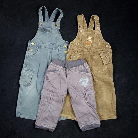 3x spodnie / ogrodniczki /ciepłe spodenki / spodenki z szelkami /86-92