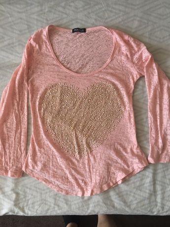 Zwiewna bluzeczka jasna różowa serce cekiny złote bluzka M L bawełna