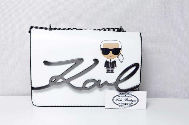 Biała torebka torba listonoszka Karl Lagerfeld