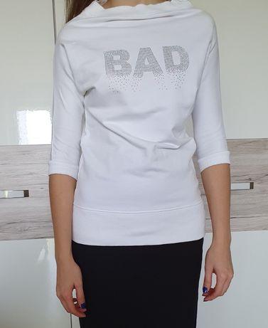 Wyprzedaż szafy - biała bluza - BAD - Swarovski -S