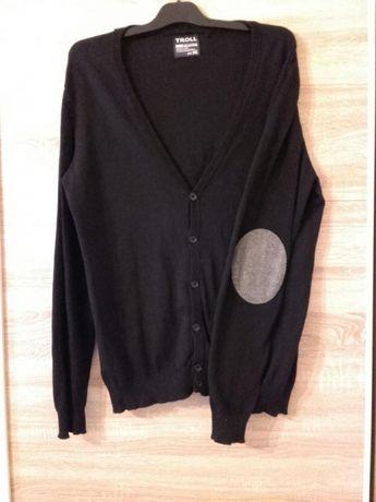 Sweter rozpinany męski czarny z szarymi łatkami na lokciach XXL TROLL