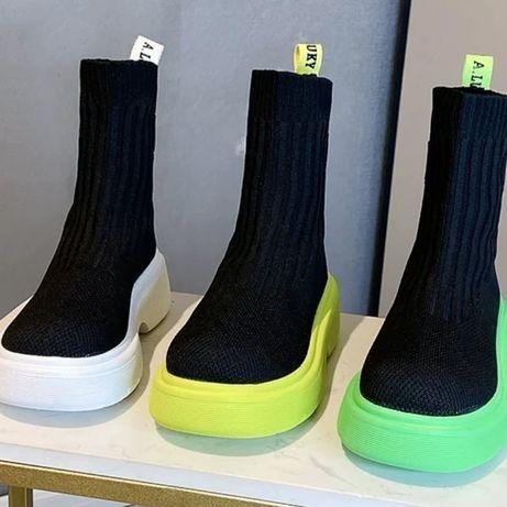Ботинки , высокие слипоны, ботинки резинка