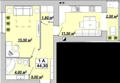 1 кімнатна, 44м2, готова для ремонту (ЦЕНТР)