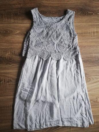 Szara sukienka z haftem Unisono rozmiar uniwersalny