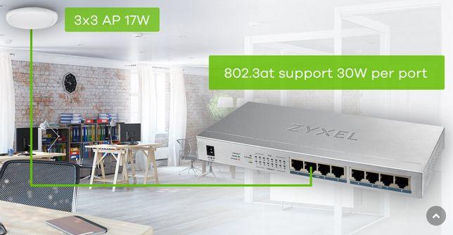 przełącznik switch zyxel GS1008HP PoE+ 8-port GbE