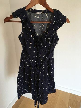 Bawełniana granatowa sukienka w jaskółki new look XS