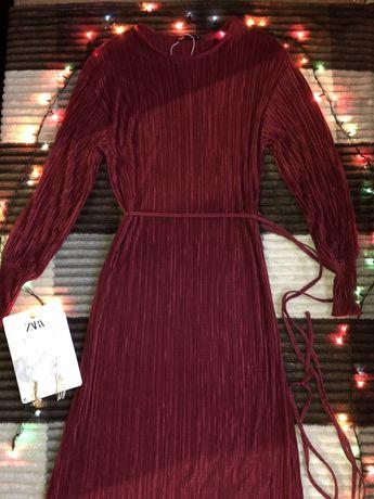 ZARA! Платье от ZARA! Трендовое бордовое платье Zara!